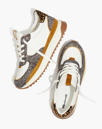 Kickoff Trainer Sneakers in Leather and Spot Mix Calf Hair