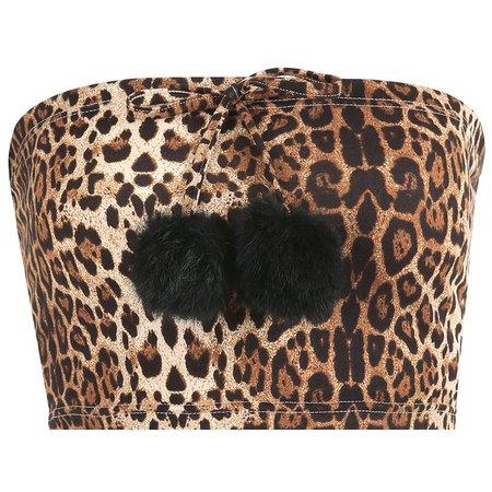 Leopard Pom Pom Tube Top - Own Saviour