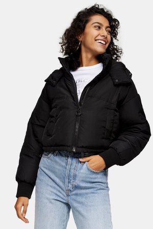 Black Cropped Padded Puffer Jacket