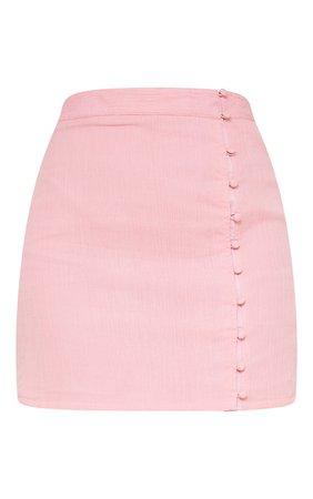 Pink Textured Button Detail Mini Skirt | PrettyLittleThing USA