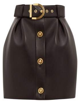 Belted Leather Mini Skirt - Womens - Black