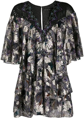 Layered Paisley Print Silk Dress