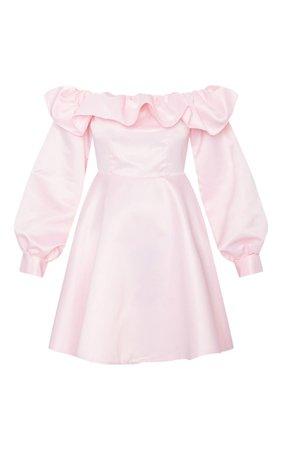 Baby Pink Bonded Satin Bardot Ruffle Skater Dress | PrettyLittleThing