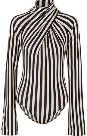Striped Stretch-jersey Turtleneck Bodysuit - Black