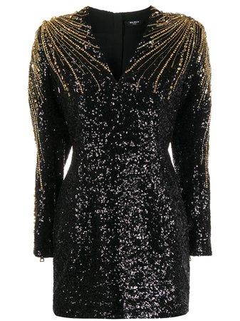 Balmain sequin-embellished Beaded Cocktail Dress - Farfetch
