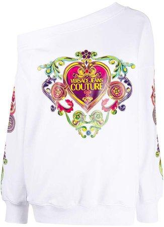 off-shoulder logo print sweatshirt