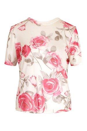 Rose Print Mesh Top | boohoo