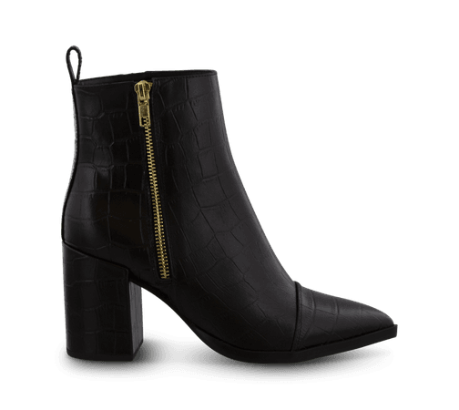 Belle Black Croc Ankle Boots | Boots | Tony Bianco