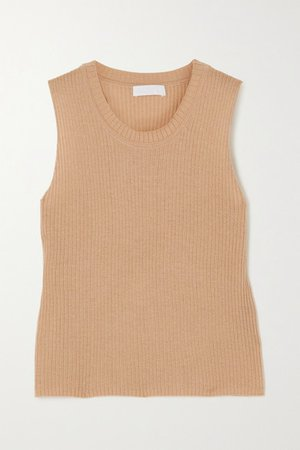 Angie Ribbed Cashmere Tank - Sand