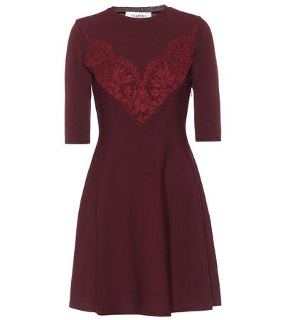 Valentino, Lace-trimmed knit minidress