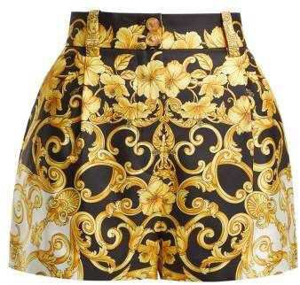 Versace Hibiscus Silk Shorts - Womens - Gold Multi