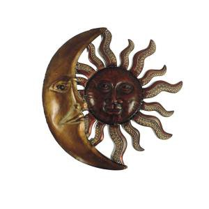 Litton Lane 36 in. Global Inspired Bronze Finish Celestial Sun Iron Wall Decor-97917 - The Home Depot