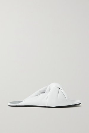 Drapy Knotted Leather Sandals - White