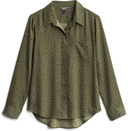 olive and black print button down