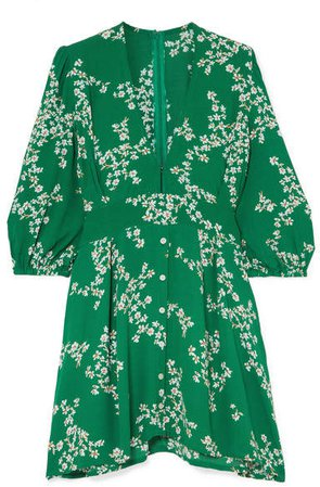 Margot Floral-print Crepe Mini Dress - Green