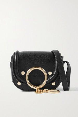 Mara Mini Embellished Leather Shoulder Bag - Black