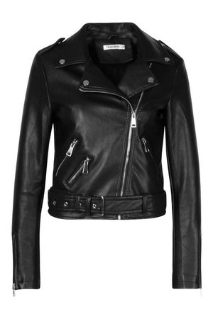 Buckle Detail Faux Leather Biker | Boohoo black