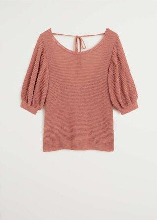 Textured knit top - Women   Mango USA rust