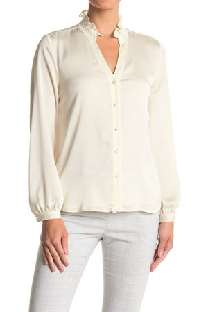 Vince Camuto | Ruffled Long Sleeve Button Front Blouse | Nordstrom Rack