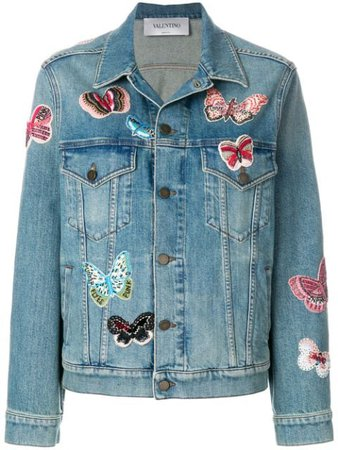 Valentino Embroidered Butterfly Denim Jacket   Farfetch.com