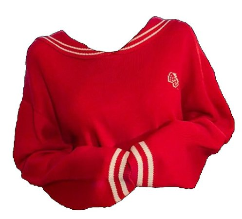 Red sweater uploaded by Lill-Marie on We Heart It
