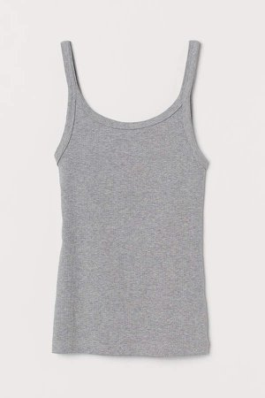 Ribbed Jersey Tank Top - Gray