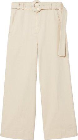 Peach Stretch Cotton Wide Leg Pants