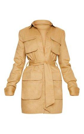Camel Utility Tie Waist Shirt Dress | Dresses | PrettyLittleThing USA