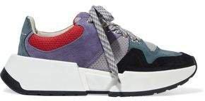 Mesh-paneled Color-block Suede Sneakers