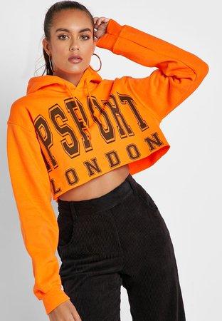 orange slogan crop hoodie