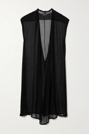 Asymmetric Gathered Silk-chiffon Mini Dress - Black