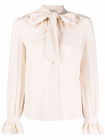 Shop Saint Laurent pussy-bow silk blouse with Express Delivery - Farfetch
