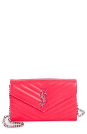 Saint Laurent Monogramme Quilted Leather Wallet on a Chain | Nordstrom