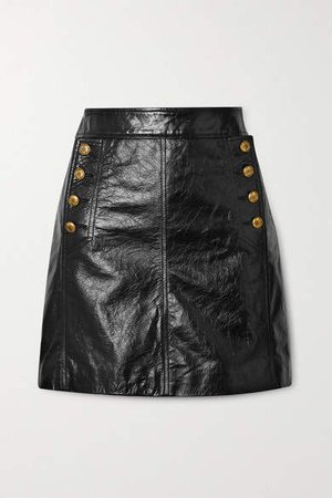 Button-embellished Textured-leather Mini Skirt - Black