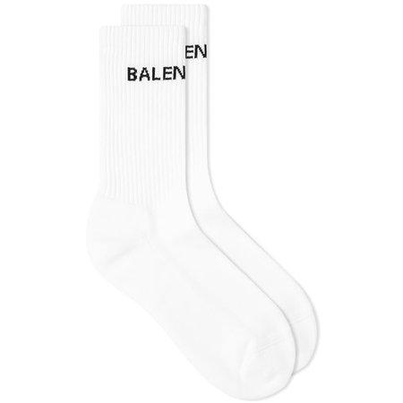 Balenciaga Tennis Logo Sock White & Black | END.