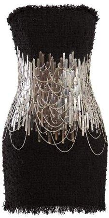 Chain And Metal Embellished Tweed Mini Dress - Womens - Black Silver