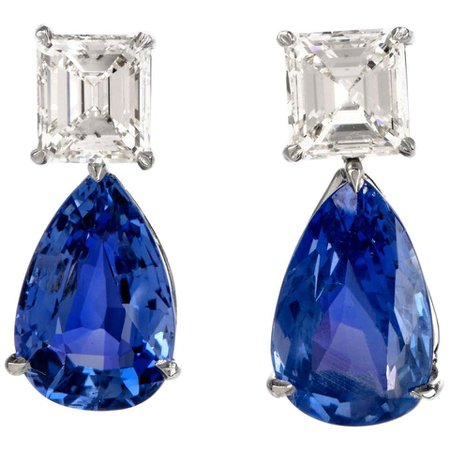 Natural GIA Blue Sapphire Diamond Pear Drop Platinum Earrings For Sale at 1stDibs