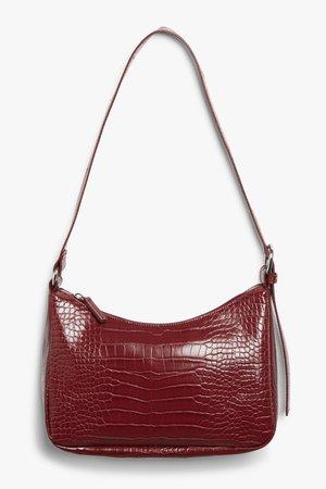 Faux croc hand bag - Burgundy - Bags - Monki WW
