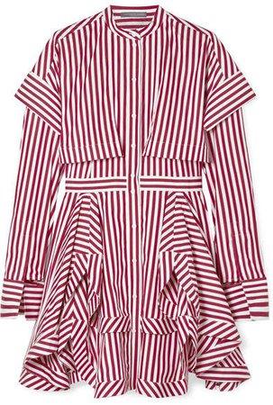 Asymmetric Layered Striped Cotton-poplin Mini Dress