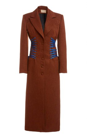 MATERIEL Lace-Detailed Twill Coat