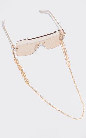 Gold Greek Link Sunglasses Chain | PrettyLittleThing USA