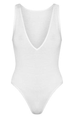 Basic White Jersey Plunge Neck Thong Bodysuit | PrettyLittleThing