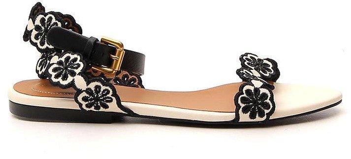 Floral Strap Flat Sandals