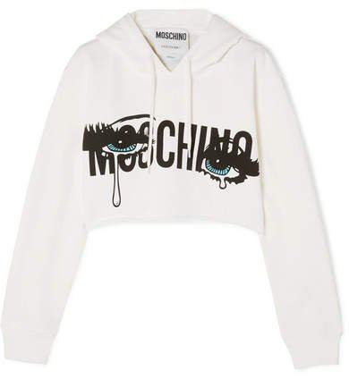 Cropped Printed Stretch-cotton Jersey Hooded Top - White