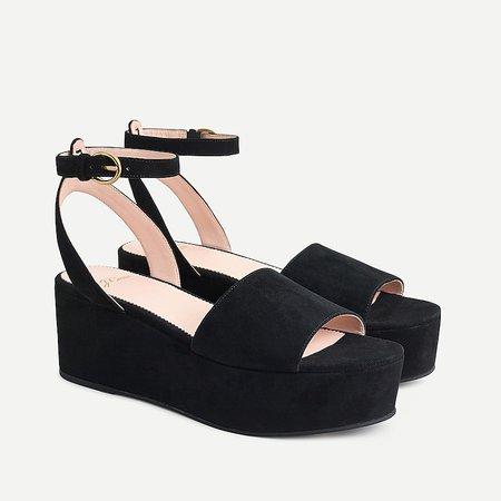 J.Crew: Suede Flatform Ankle-strap Sandals For Women