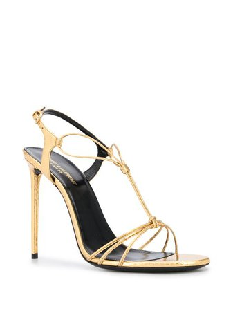 Shop gold Saint Laurent strappy stilettos with Express Delivery - Farfetch
