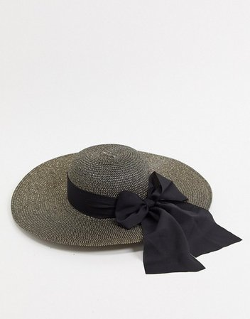 ALDO Tigerperch floppy straw hat in black | ASOS