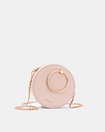 Stab stitch circle leather bag - Light Pink | Bags | Ted Baker