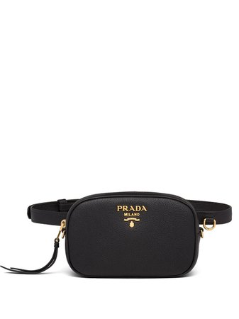 Prada Logo Plaque Belt Bag 1BL007VTOO2BBE Black | Farfetch