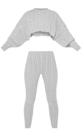 Grey Cable Knit Jumper & Legging Set | PrettyLittleThing